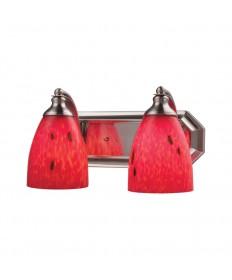 ELK Lighting 570-2N-FR 2 Light Vanity in Satin Nickel and Fire Red Glass