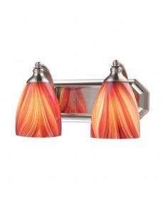 ELK Lighting 570-2N-M 2 Light Vanity in Satin Nickel and Multi Glass
