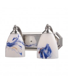 ELK Lighting 570-2N-MT 2 Light Vanity in Satin Nickel and Mountain Glass