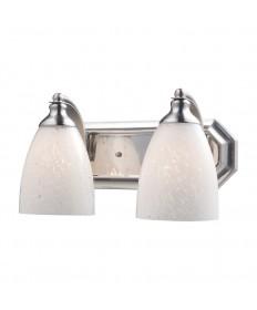 ELK Lighting 570-2N-SW 2 Light Vanity in Satin Nickel and Snow White Glass