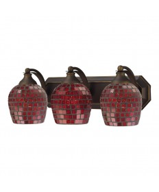 ELK Lighting 570-3B-CPR 3 Light Vanity in Aged Bronze and Copper Mosaic Glass
