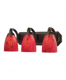 ELK Lighting 570-3B-FR 3 Light Vanity in Aged Bronze and Fire Red Glass
