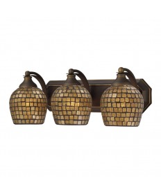 ELK Lighting 570-3B-GLD 3 Light Vanity in Aged Bronze and Gold Mosaic Glass