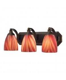 ELK Lighting 570-3B-M 3 Light Vanity in Aged Bronze and Multi Glass