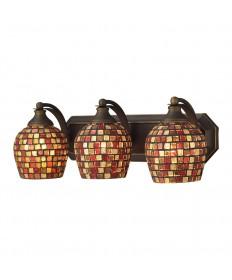 ELK Lighting 570-3B-MLT 3 Light Vanity in Aged Bronze and Multi Mosaic Glass