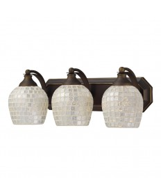 ELK Lighting 570-3B-SLV 3 Light Vanity in Aged Bronze and Silver Mosaic Glass