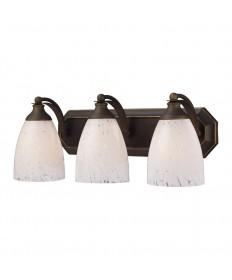 ELK Lighting 570-3B-SW 3 Light Vanity in Aged Bronze and Snow White Glass