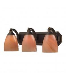 ELK Lighting 570-3B-SY 3 Light Vanity in Aged Bronze and Sandy Glass