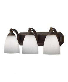 ELK Lighting 570-3B-WH 3 Light Vanity in Aged Bronze and Simply White Glass