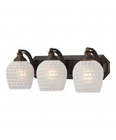ELK Lighting 570-3B-WHT 3 Light Vanity in Aged Bronze and White Mosaic Glass