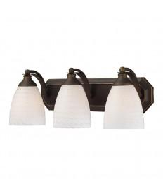 ELK Lighting 570-3B-WS 3 Light Vanity in Aged Bronze and White Swirl Glass
