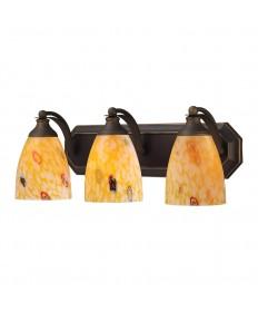 ELK Lighting 570-3B-YW 3 Light Vanity in Aged Bronze and Yellow Blaze Glass