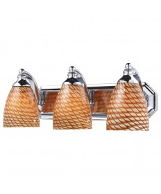 ELK Lighting 570-3C-C 3 Light Vanity in Polished Chrome and Coco Glass
