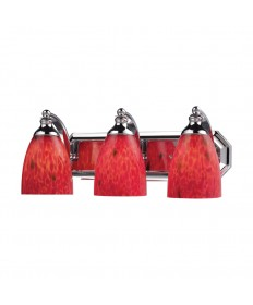 ELK Lighting 570-3C-FR 3 Light Vanity in Polished Chrome and Fire Red Glass