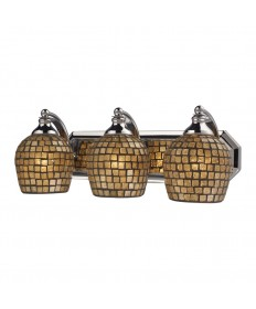 ELK Lighting 570-3C-GLD 3 Light Vanity in Polished Chrome and Gold Mosaic Glass