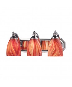 ELK Lighting 570-3C-M 3 Light Vanity in Polished Chrome and Multi Glass
