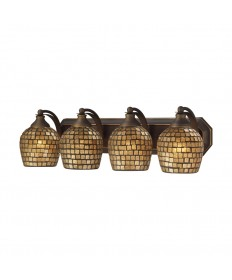 ELK Lighting 570-4B-GLD 4 Light Vanity in Aged Bronze and Gold Mosaic Glass