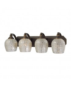 ELK Lighting 570-4B-SLV 4 Light Vanity in Aged Bronze and Silver Mosaic Glass