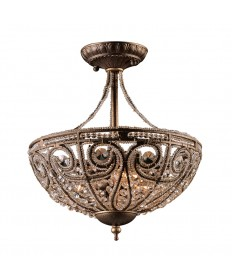 ELK Lighting 5964/3 Elizabethan 3 Light Semi Flush in Dark Bronze