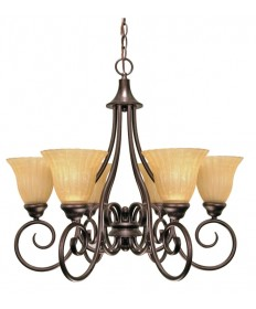 Nuvo Lighting 60/010 Moulan 6 Light 25 inch Chandelier with Champagne Linen Washed Glass