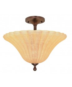 Nuvo Lighting 60/012 Moulan 3 Light 16 inch Semi-Flush with Champagne Linen Washed Glass