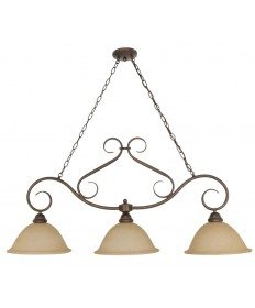Nuvo Lighting 60/1025 Castillo 3 Light 44 inch Trestle with Champagne Linen Washed Glass