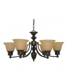 Nuvo Lighting 60/1274 Empire 6 Light 26 inch Chandelier with Champagne Linen Washed Glass