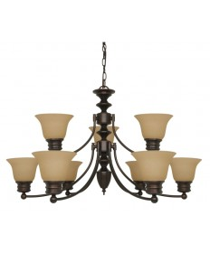 Nuvo Lighting 60/1275 Empire 9 Light 32 inch Chandelier with Champagne Linen Washed Glass
