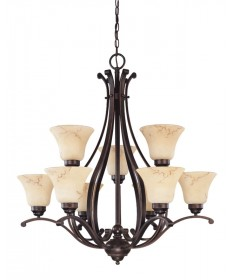 Nuvo Lighting 60/1403 Anastasia 9 Light 2 Tier 34 inch Chandelier with Honey Marble Glass