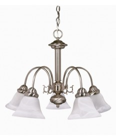 Nuvo Lighting 60/181 Ballerina 5 Light 24 inch Chandelier with Alabaster Glass Bell Shades