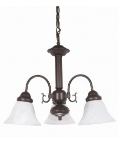 Nuvo Lighting 60/184 Ballerina 3 Light 20 inch Chandelier with Alabaster Glass Bell Shades