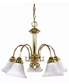 Nuvo Lighting 60/185 Ballerina 5 Light 24 inch Chandelier with Alabaster Glass Bell Shades