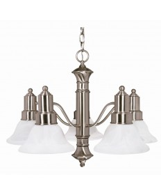 Nuvo Lighting 60/189 Gotham 5 Light 25 inch Chandelier with Alabaster Glass Bell Shades
