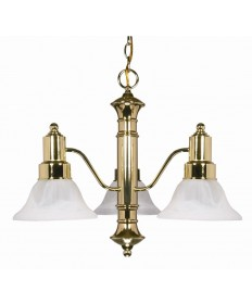 Nuvo Lighting 60/194 Gotham 3 Light 23 inch Chandelier with Alabaster Glass Bell Shades