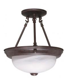 Nuvo Lighting 60/208 2 Light 11 inch Semi-Flush Alabaster Glass