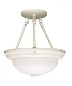Nuvo Lighting 60/224 2 Light 11 inch Semi-Flush Alabaster Glass
