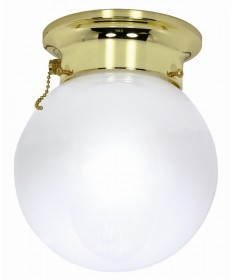 Nuvo Lighting 60/295 1 Light 8 inch Ceiling Mount White Ball with Pull Chain Switch