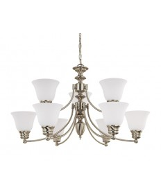 Nuvo Lighting 60/3256 Empire 9 Light 32 inch Chandelier with Frosted White Glass