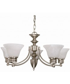 Nuvo Lighting 60/356 Empire 6 Light 26 inch Chandelier with Alabaster Glass Bell Shades