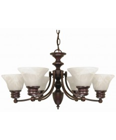 Nuvo Lighting 60/358 Empire 6 Light 26 inch Chandelier with Alabaster Glass Bell Shades