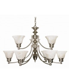 Nuvo Lighting 60/360 Empire 9 Light 32 inch Chandelier with Alabaster Glass Bell Shades, 2 Tier