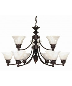 Nuvo Lighting 60/362 Empire 9 Light 32 inch Chandelier with Alabaster Glass Bell Shades, 2 Tier