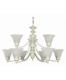 Nuvo Lighting 60/363 Empire 9 Light 32 inch Chandelier with Alabaster Glass Bell Shades, 2 Tier