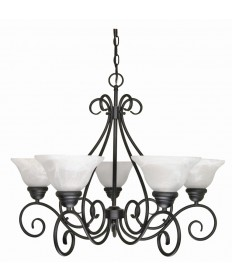 Nuvo Lighting 60/380 Castillo 5 Light 28 inch Chandelier with Alabaster Swirl Glass