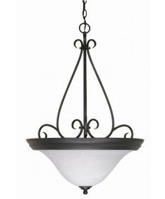 Nuvo Lighting 60/385 Castillo 3 Light 19 inch Pendant with Alabaster Swirl Glass