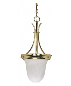 Nuvo Lighting 60/396 1 Light 10 inch Pendant Alabaster Glass Bell
