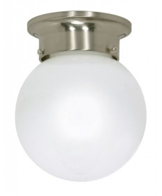 Nuvo Lighting 60/432 1 Light Cfl 8 inch Flush Mount White Ball (1) 13W GU24 Lamp Included