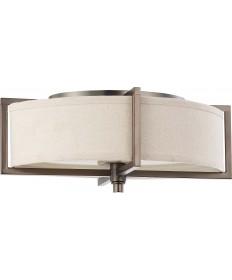 Nuvo Lighting 60/4458 Portia 2 Light Oval Flush with Khaki Fabric Shade
