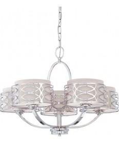 Nuvo Lighting 60/4625 Harlow 5 Light Chandelier with Slate Gray Fabric Shades