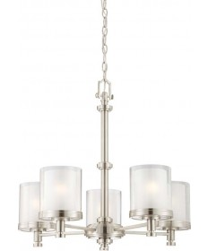 Nuvo Lighting 60/4645 Decker 5 Light Chandelier with Clear & Frosted Glass